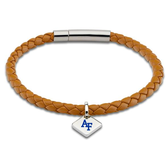 USAFA Leather Bracelet with Sterling Silver Tag - Saddle