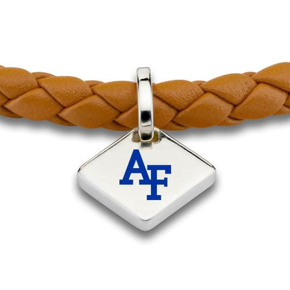 USAFA Leather Bracelet with Sterling Silver Tag - Saddle - Image 2