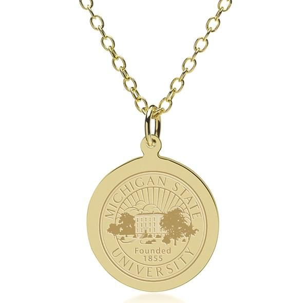 Michigan State 18K Gold Pendant & Chain - Image 1