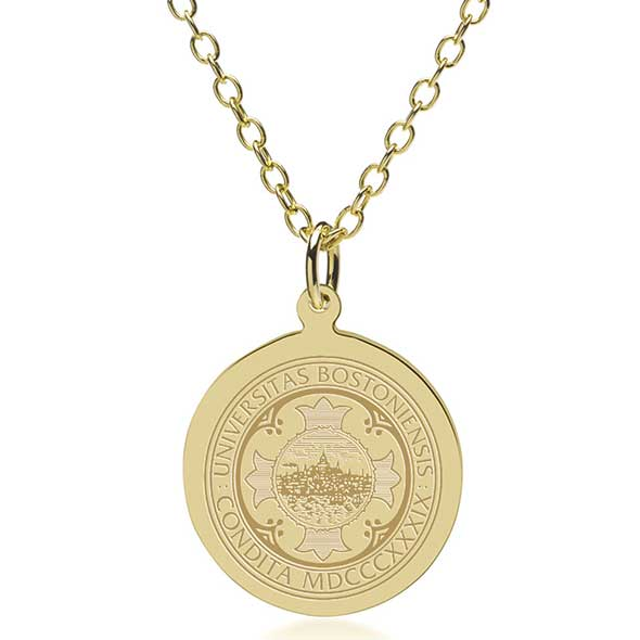 Boston University 18K Gold Pendant & Chain