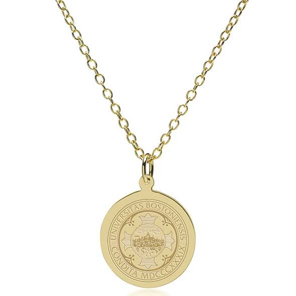 Boston University 18K Gold Pendant & Chain - Image 2
