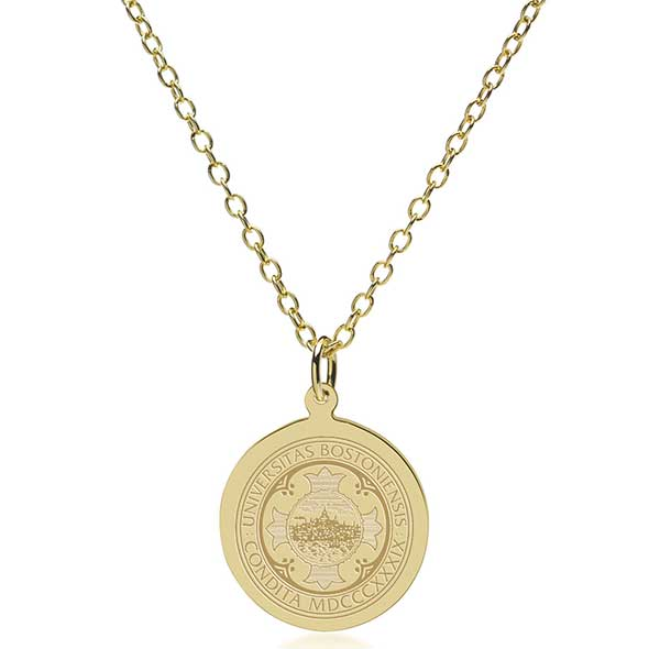 Boston University 18K Gold Pendant & Chain - Image 2