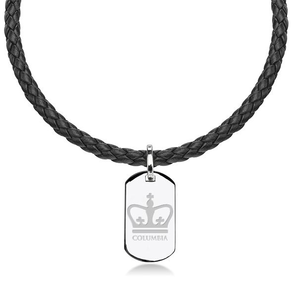 Columbia University Leather Necklace with Sterling Dog Tag