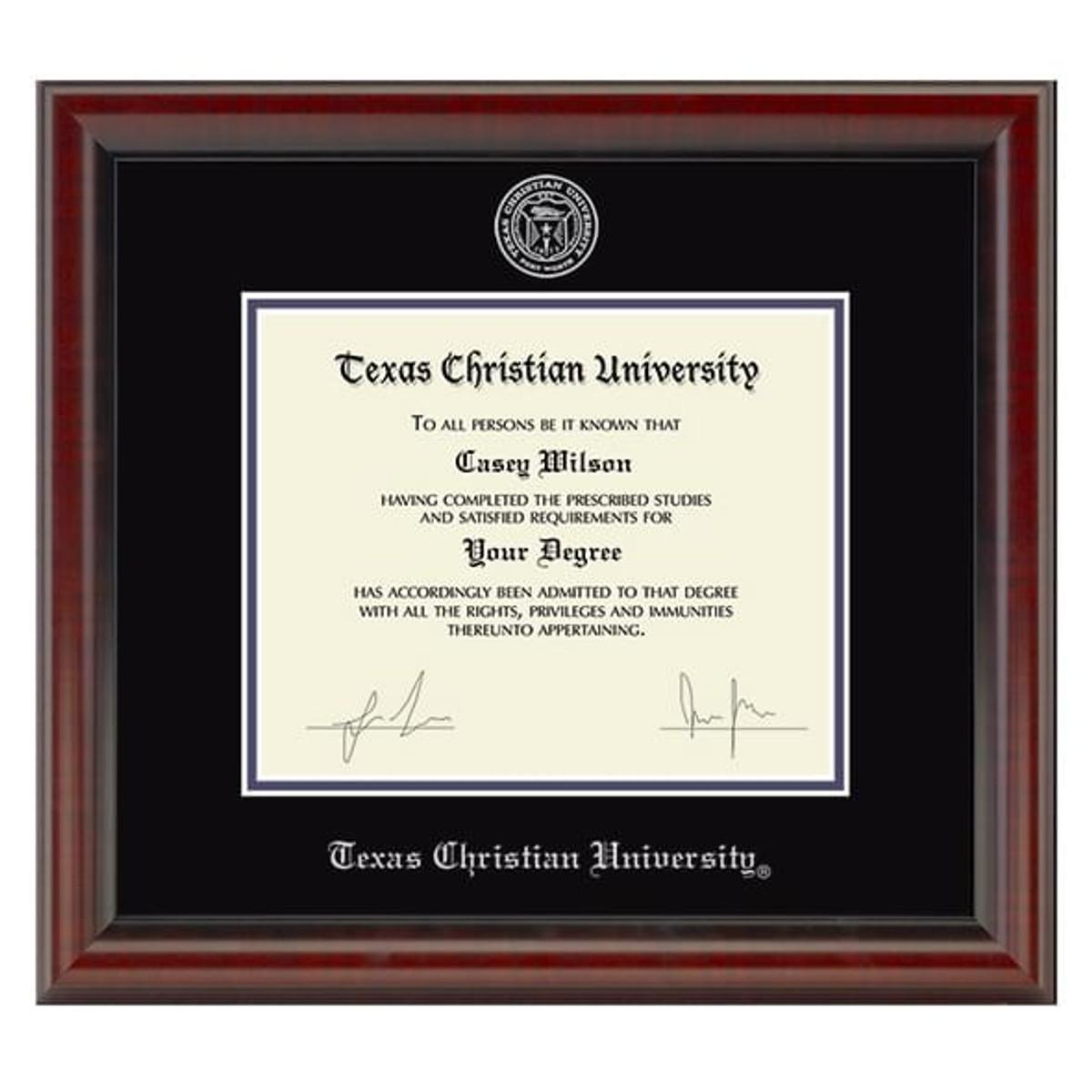 Official Texas Christian University Diploma Frame The