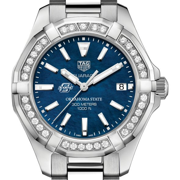 Oklahoma State Women's TAG Heuer 35mm Steel Aquaracer with Blue Dial - Image 1