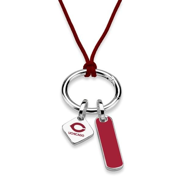 Chicago Silk Necklace with Enamel Charm & Sterling Silver Tag - Image 2
