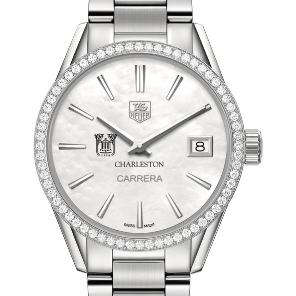 College of Charleston Women's TAG Heuer Steel Carrera with MOP Dial & Diamond Bezel