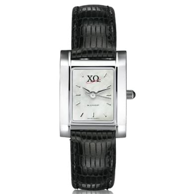 Chi Omega Women's Mother of Pearl Quad Watch with Leather Strap