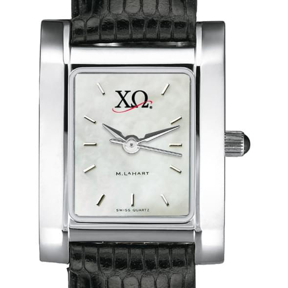 Chi Omega Women's Mother of Pearl Quad Watch with Leather Strap - Image 2