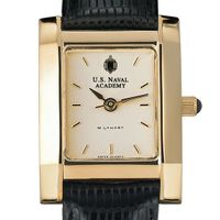 USNA Women's Gold Quad Watch with Leather Strap