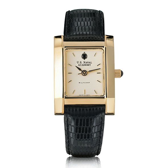 USNA Women's Gold Quad Watch with Leather Strap - Image 2