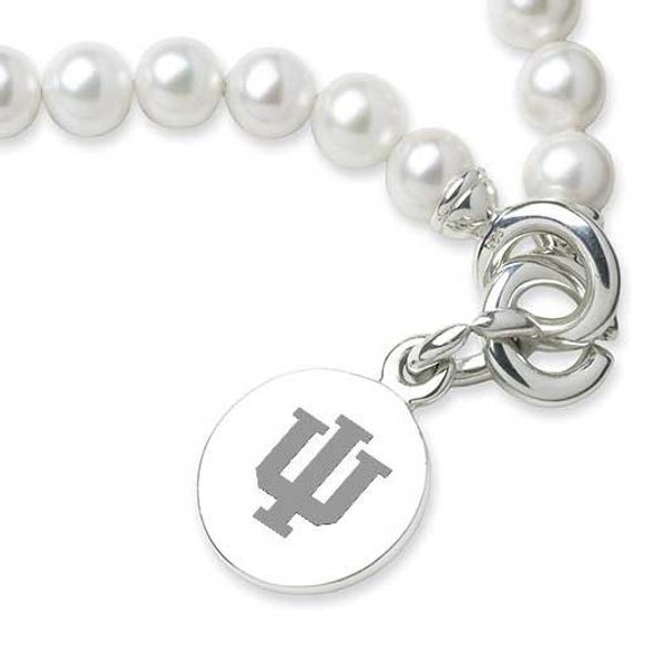 Indiana University Pearl Bracelet with Sterling Silver Charm - Image 2