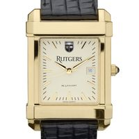 Rutgers University Men's Gold Quad with Leather Strap