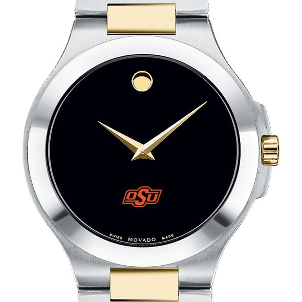 Oklahoma State Men's Movado Collection Two-Tone Watch with Black Dial - Image 1