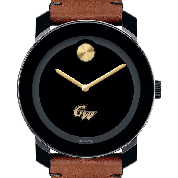 George Washington University Men's Movado BOLD with Brown Leather Strap