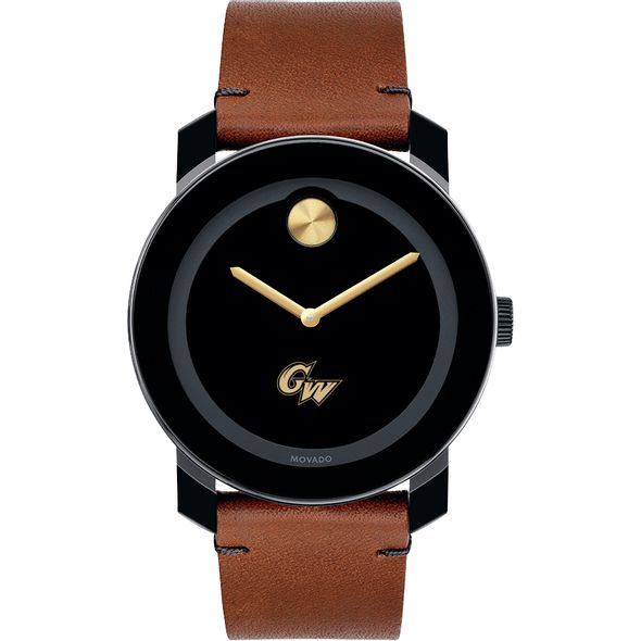 George Washington University Men's Movado BOLD with Brown Leather Strap - Image 2