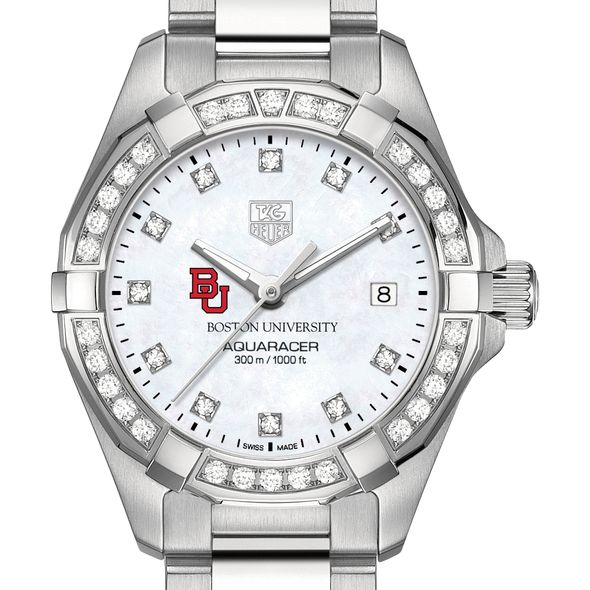 Boston University W's TAG Heuer Steel Aquaracer with MOP Dia Dial & Bezel