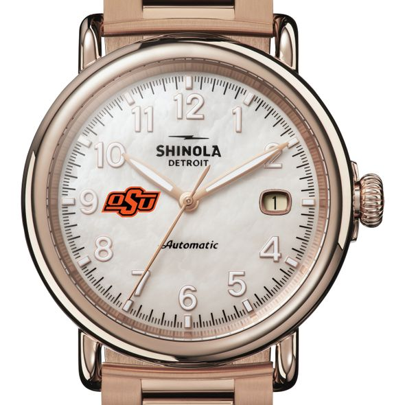 Oklahoma State Shinola Watch, The Runwell Automatic 39.5mm MOP Dial - Image 1