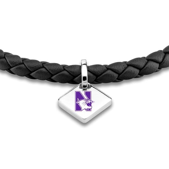 Northwestern Leather Bracelet w/ Sterling Silver Tag - Black - Image 2