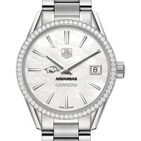 University of Arkansas Women's TAG Heuer Steel Carrera with MOP Dial & Diamond Bezel