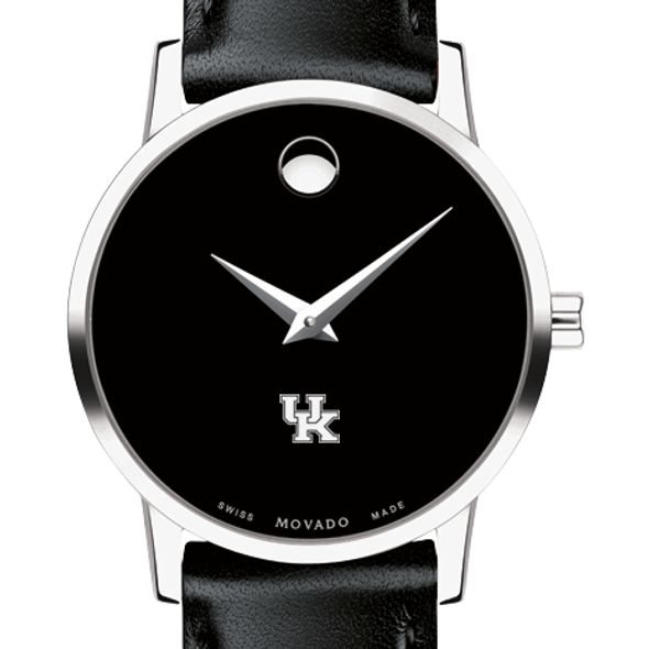University of Kentucky Women's Movado Museum with Leather Strap - Image 1