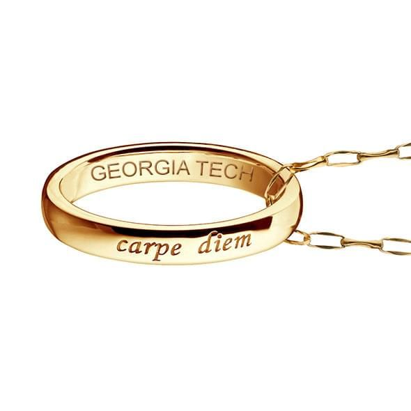 "Georgia Tech Monica Rich Kosann ""Carpe Diem"" Poesy Ring Necklace in Gold - Image 3"