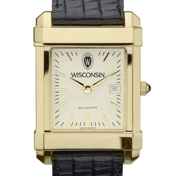 Wisconsin Men's Gold Quad Watch with Leather Strap