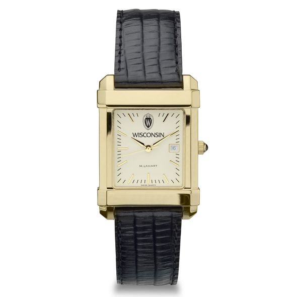 Wisconsin Men's Gold Quad Watch with Leather Strap - Image 2