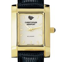Christopher Newport University Women's Gold Quad with Leather Strap