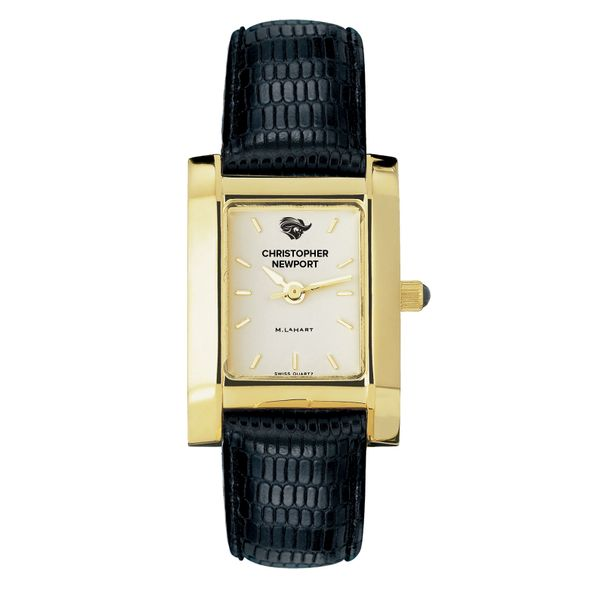 Christopher Newport University Women's Gold Quad with Leather Strap - Image 2