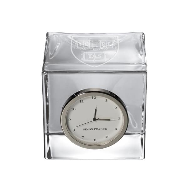 Harvard Glass Desk Clock by Simon Pearce - Image 1