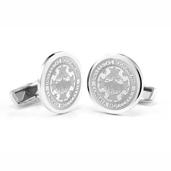 Boston University Cufflinks in Sterling Silver