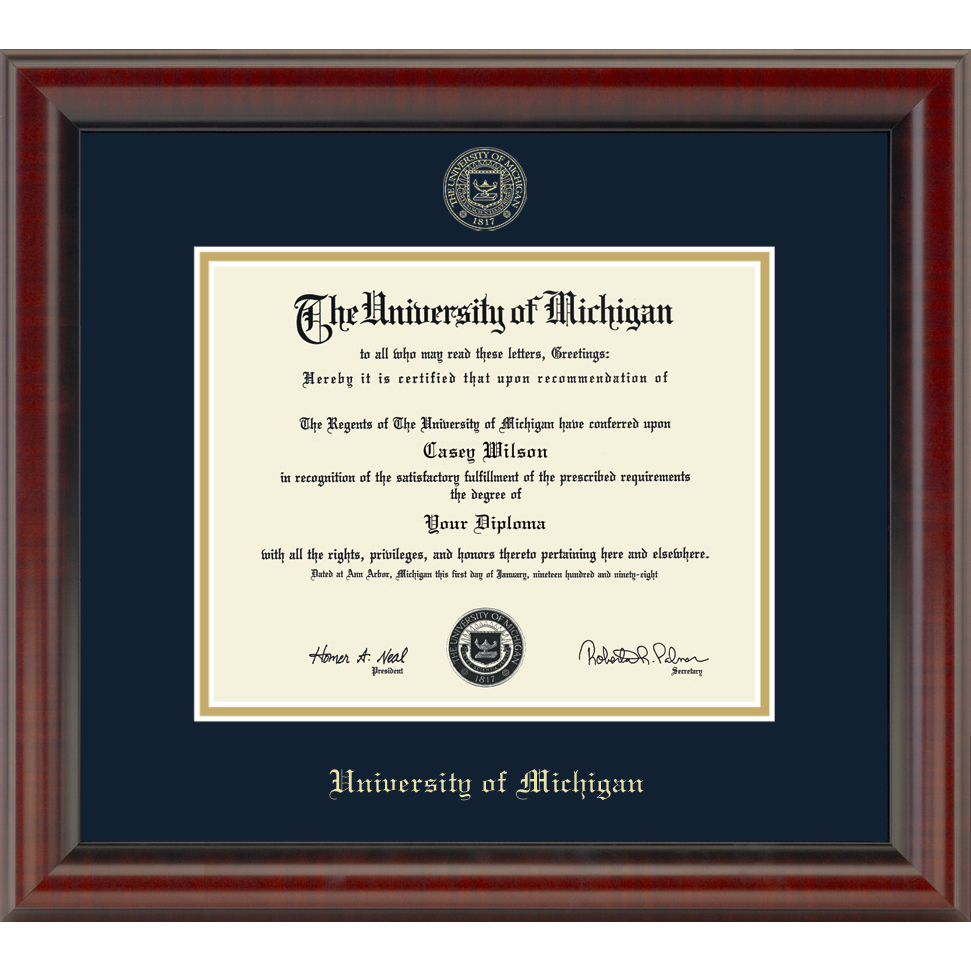 Official University of Michigan Diploma Frame, the Fidelitas ...