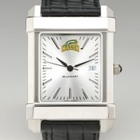 George Mason University Men's Collegiate Watch with Leather Strap