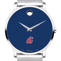 Washington State University Men's Movado Museum with Blue Dial & Mesh Bracelet