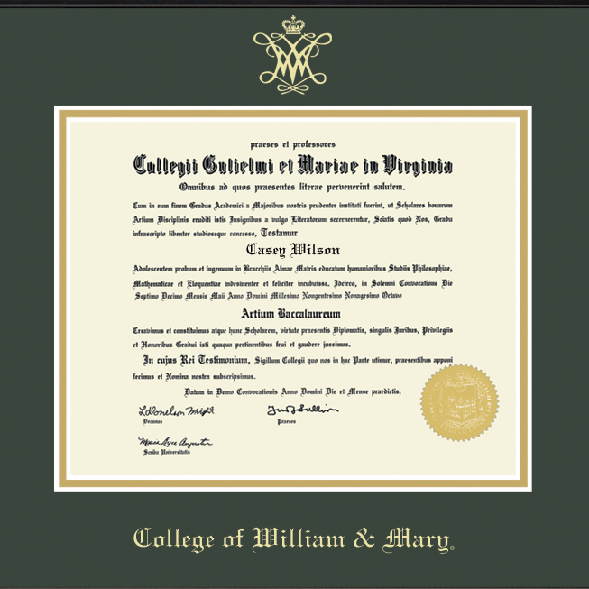 Official College of William & Mary Diploma Frame, the Fidelitas ...