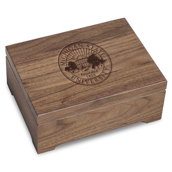 Michigan State University Solid Walnut Desk Box