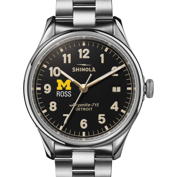 Michigan Ross Shinola Watch, The Vinton 38mm Black Dial - Image 1