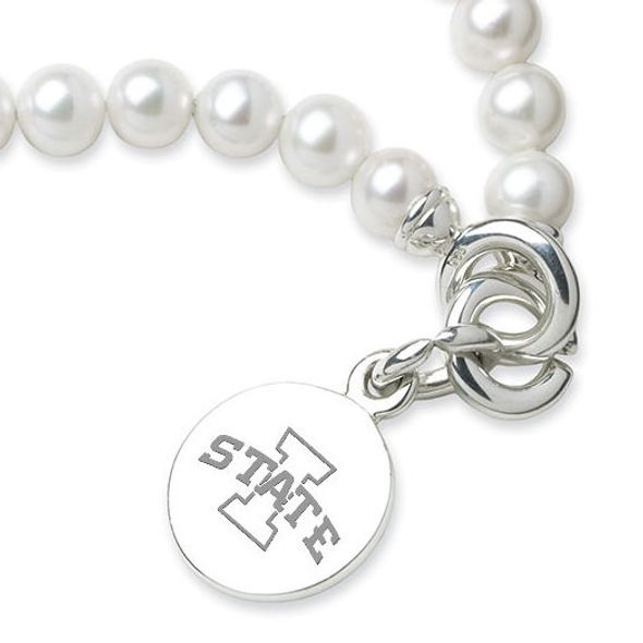 Iowa State University Pearl Bracelet with Sterling Silver Charm - Image 2
