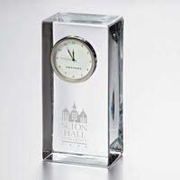 Seton Hall Tall Glass Desk Clock by Simon Pearce