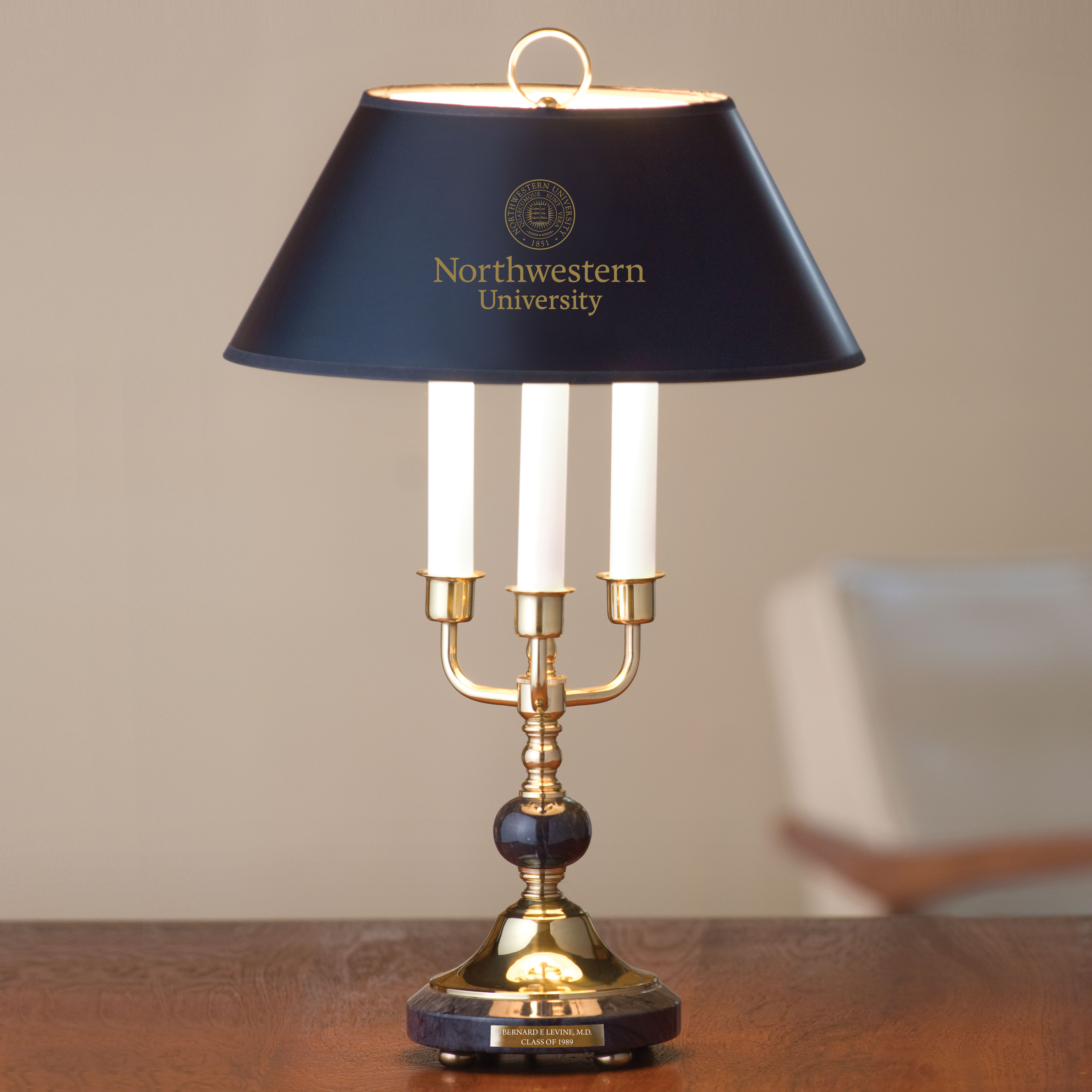 Northwestern University Lamp in Brass & Marble - Image 1