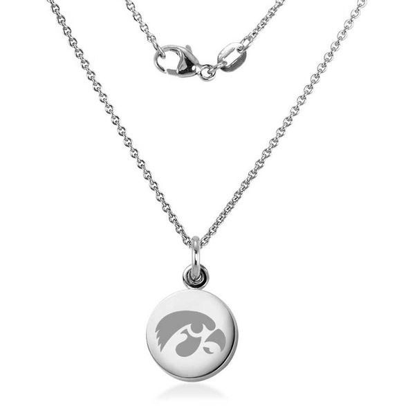 University of Iowa Necklace with Charm in Sterling Silver
