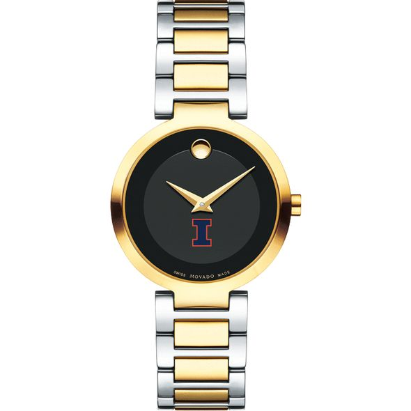 University of Illinois Women's Movado Two-Tone Modern Classic Museum with Bracelet - Image 2
