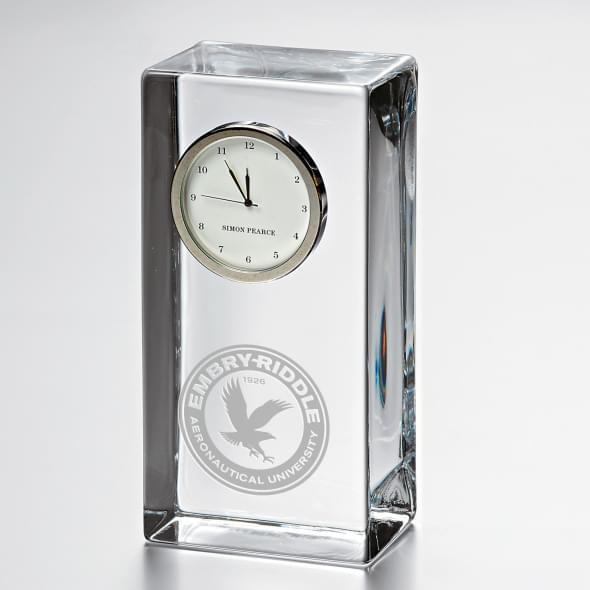 Embry-Riddle Tall Glass Desk Clock by Simon Pearce