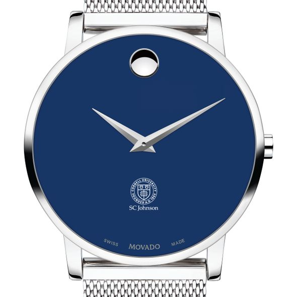 Cornell SC Johnson College of Business Men's Movado Museum with Blue Dial & Mesh Bracelet