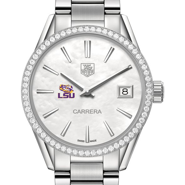 Louisiana State University Women's TAG Heuer Steel Carrera with MOP Dial & Diamond Bezel