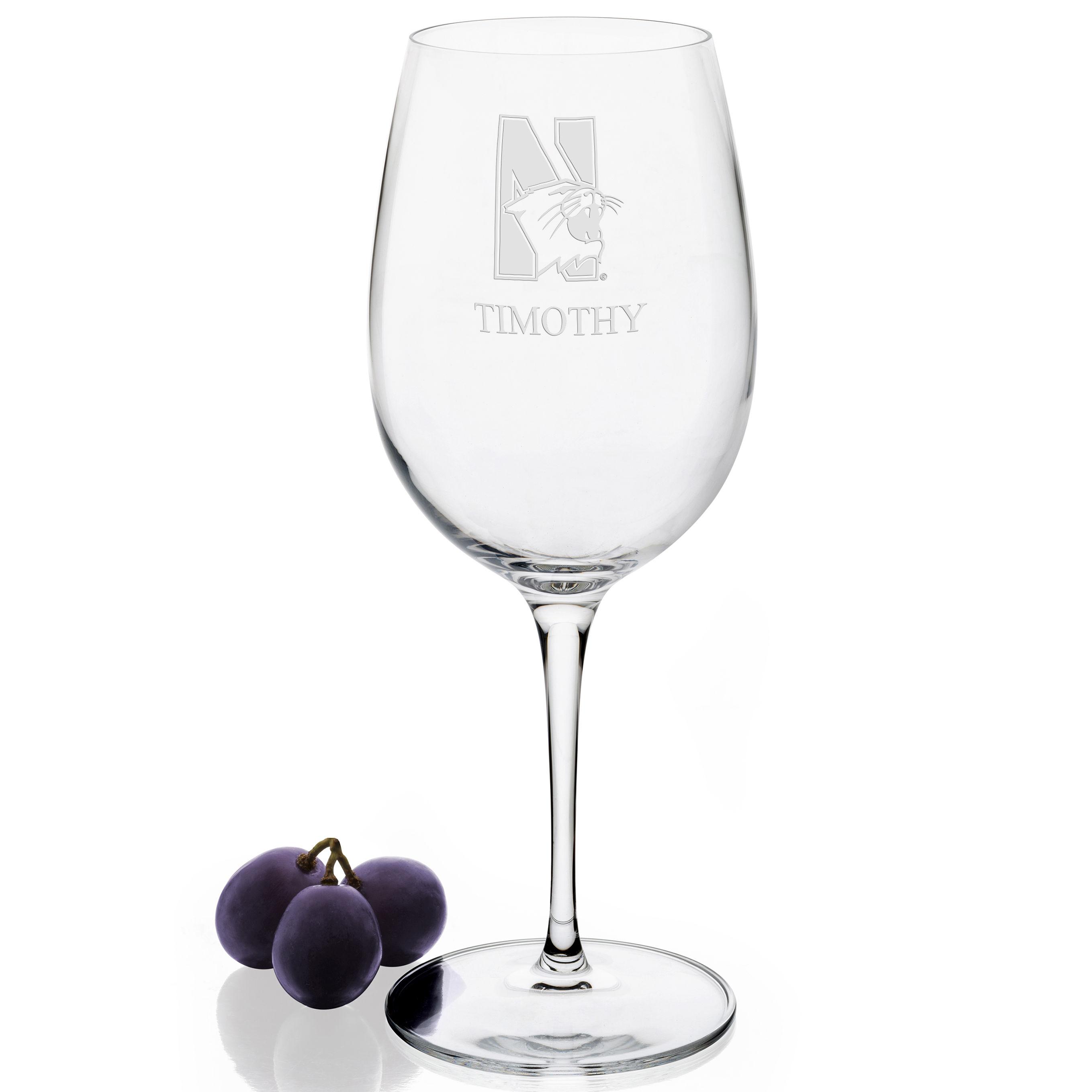 Northwestern University Red Wine Glasses - Set of 4 - Image 2