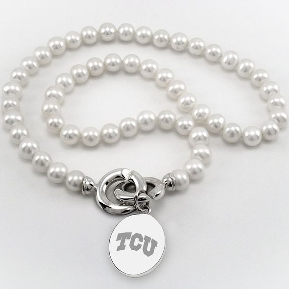 TCU Pearl Necklace with Sterling Silver Charm