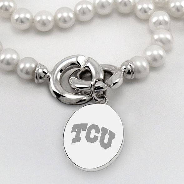 TCU Pearl Necklace with Sterling Silver Charm - Image 2