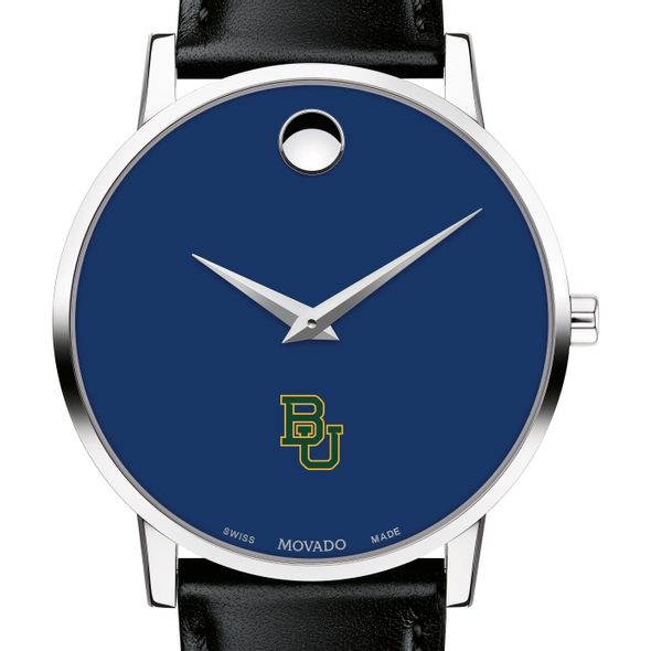 Baylor University Men's Movado Museum with Blue Dial & Leather Strap